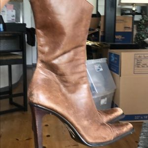 Brown Leather Steve Madden Cowboy Style Boots